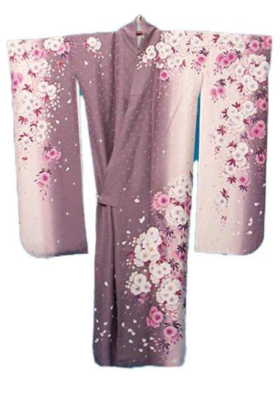 F643トール振袖レンタル裄71(身長150-170ヒップ69-99) 正絹 ピンク 桜[FinalStage]ファイナルステージ