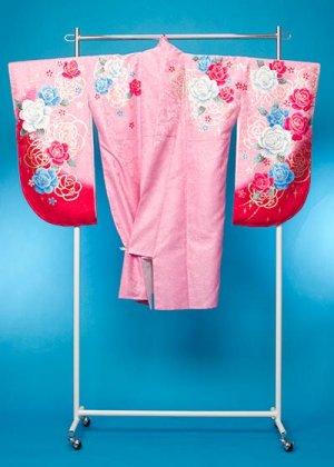 S502小振袖レンタル 裄70(ヒップ71-101) ピンク 薔薇 [Twofacy]藤田志穂【新品同様】
