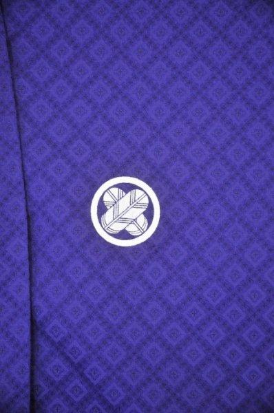 MP86-2トールワイド黒紋付レンタル 裄86(身長180-200 胴回り77-107) 紫 大和紋付 特注サイズ