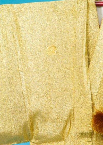 MP75-38トール紋付レンタル 裄75(身長175 胴回り73-103) ゴールド金ラメ織 日本製【新品同様】