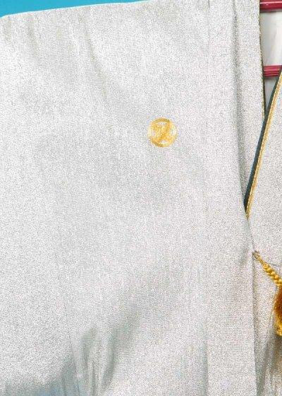 MP75-43紋付レンタル裄75(身長175-180胴回り75-105) シルバー銀ラメ織