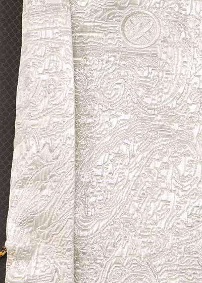 MP76-36紋付レンタル 裄76(身長175-180胴回り76-106) 日本製 オフ白に銀ラメ織【新品同様】