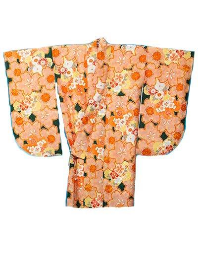 S527Wトールワイド小振袖レンタル裄75-77身長158-171ヒップ110-132) 濃いグリーンにオレンジの桜 【新品同様】