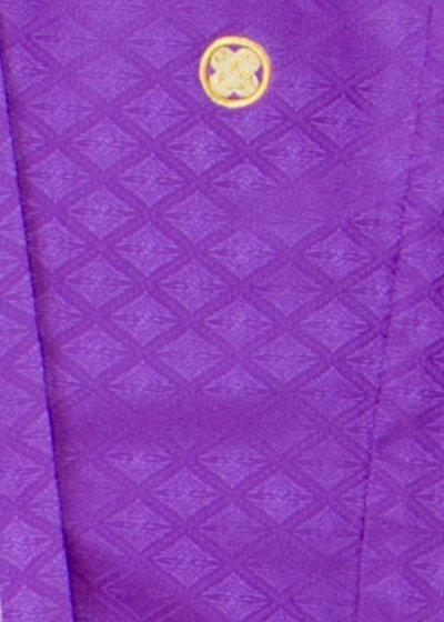 MP82-10トールワイド紋付レンタル(裄82身長185-195胴回り77-111) 紫系 花紫【新品同様】