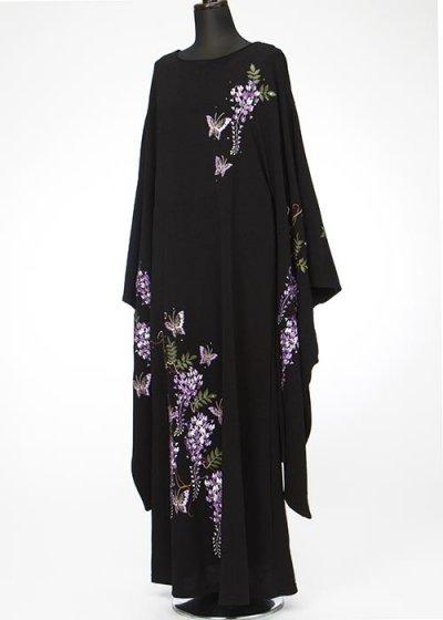 HD19-12留袖風ちりめんロングドレス27号 (身長158-168バスト107-122)  藤の花刺繍 【新品同様】