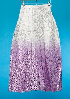 MH91-32男袴レンタル(身長170-175 普通巾)白/赤紫ぼかし・銀の亀甲