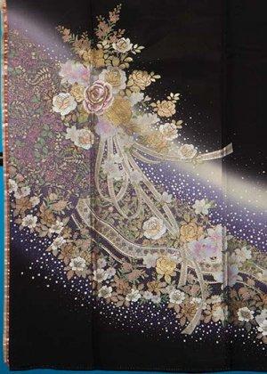 TK256トール留袖レンタル 裄69-71身長149-169ヒップ74-104)正絹 金彩 薔薇とリボン [桂由美]