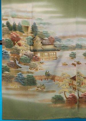 TI-587裄短めワイド色留袖レンタル(裄70-72身長143-163ヒップへそ回り88-118バスト78-108)正絹 グリーン系 作家物 [古都庭園]