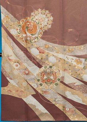 TI591色留袖レンタル 裄68-70(身長140-162ヒップ75-101) 正絹  茶系 小豆色 ブラウンベージュ 鳳凰