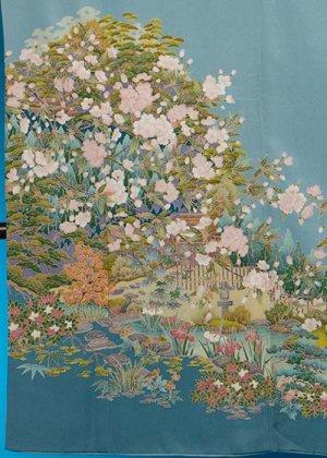 TI590色留袖レンタル 裄67-69(身長146-166ヒップ73-103) 正絹 水色 四季の花