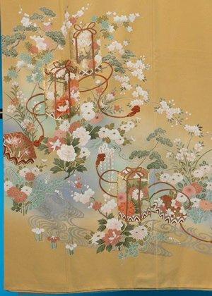 TI588色留袖レンタル 裄67-69(身長144-164ヒップ76-102)正絹 黄色系 イエローベージュ