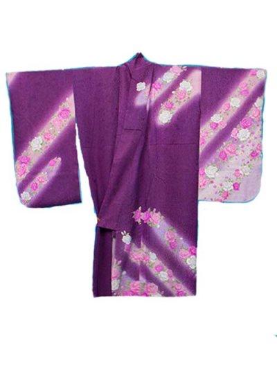 S547Wトールワイド小振袖レンタル(裄73-75身長156-176ヒップ110-140)正絹 赤紫 薔薇 斜めぼかし