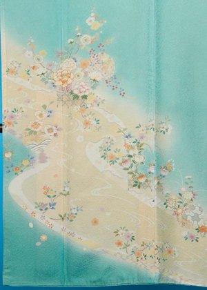 TI-595トールややワイド色留袖レンタル(裄72-74身長154-174ヒップへそ回り79-109バスト69-99)正絹  ミントグリーン 小花に流水