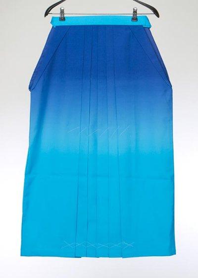 HA91-47女袴レンタル  (身長155-160 普通巾) 青 濃淡ぼかし ひもにカラーの花刺繍