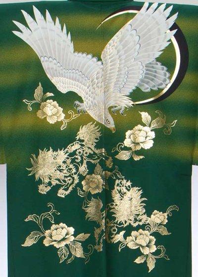 MP78-37トール紋付レンタル 裄78(身長185 胴回り75-105) 日本製  グリーン 鷹に三日月 [縁ENISHI]【新品同様】