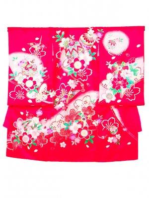A52お宮参り初着 女子 ピンク赤 まりと桜