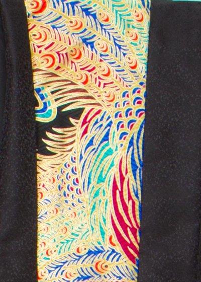 MP83-1トール紋付レンタル 裄83(身長190胴回り80-110) 黒 孔雀 金彩 オリジナル[キーヤン]【新品同様】