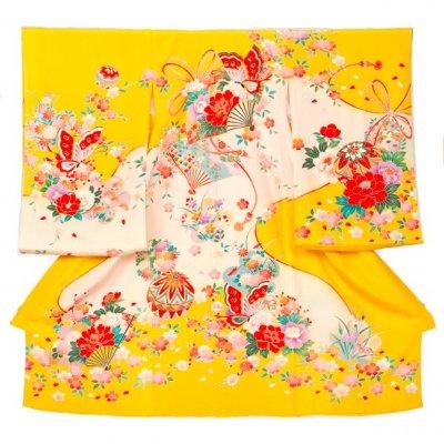 A71 お宮参り初着 正絹 黄色 まりに蝶