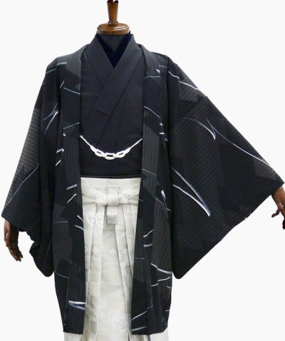 MP76-43 紋付レンタル 裄75(身長180 胴回り76-105) 日本製  黒系 [松坂大輔×JAPANSTYLE]【新品未使用】