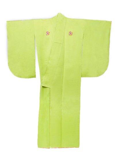 S557小振袖レンタル 裄66-68(ヒップ68-98)  正絹 綸子 ライムグリーン 明るい黄緑  無地 花紋(3ッ紋)
