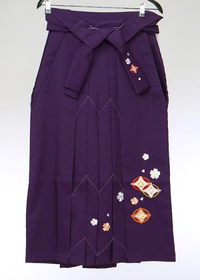 HA86-7女子袴レンタル(身長148-153)紫ぼかし桜刺繍