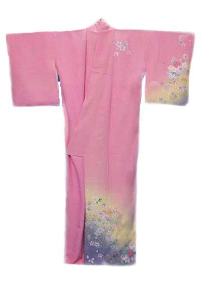 TS182W超トールワイド訪問着レンタル裄74-75身長163-181ヒップへそ回り87-117バスト77-107)正絹 ピンク 桜 黄色ぼかし