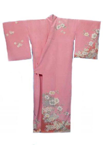 TS180Wトールワイド訪問着レンタル裄78身長155-175ヒップへそ回り96-126バスト86-116)正絹 サーモンピンク 桜