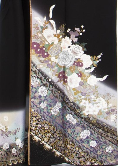 TK285トール留袖レンタル 裄69-71身長149-169ヒップ74-104)正絹 金彩 紫ぼかし 薔薇とカラーの花 [桂由美]