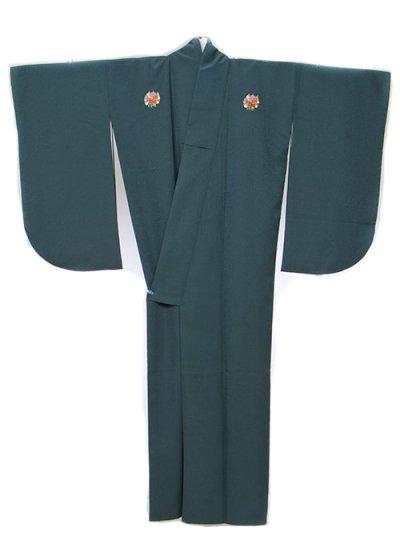 S630小振袖レンタル 裄69-71(ヒップ70-100) 紺色がかった濃いクリーン 無地 花紋 (3つ紋)