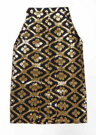 MH86-8男袴レンタル 紐下86(身長155cm前後)黒に金の花菱模様