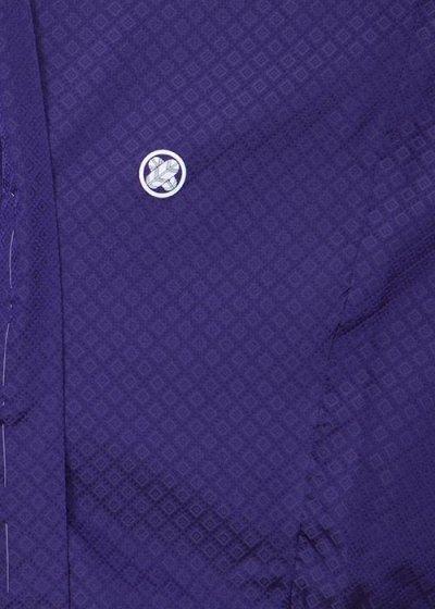 MP91-5◆細身◆裄長◆超トール◆ややワイド紋付レンタル(裄90-92身長195-215 胴回り81-116) 紫 [大和紋付]特注サイズ  ◆細身でかなり腕の長い高身長の方に