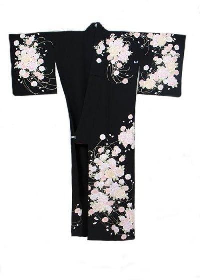 TS202P訪問着レンタル 裄67-69(身長150-163ヒップ70-99) 黒 金彩 刺繍 バラ