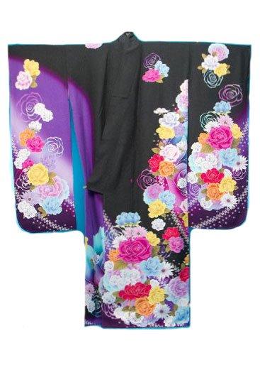 F497トール超ワイド振袖レンタル(裄77-79身長160-175ヒップ114-144)正絹 黒/紫 薔薇【新品同様】単品設定