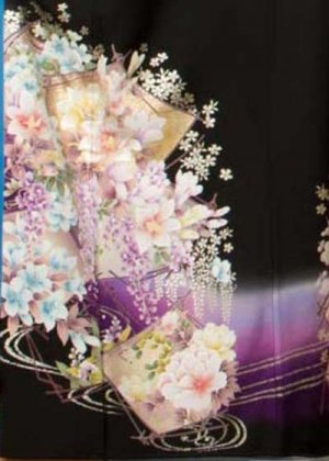 TK185超トール超ワイド黒留袖レンタル 裄74-78身長160-177ヒップ111-131)正絹 花 ブランド