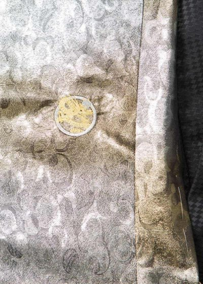 MP86-1トールワイド紋付レンタル 5L(裄86.5 身長188-203 胴回り94-120) 日本製 シルバー [清武]【新品同様】