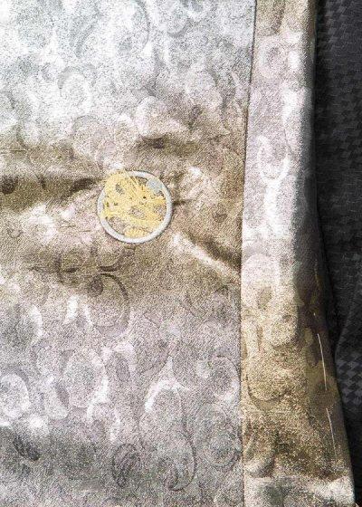 MP86-1トールワイド紋付レンタル (裄86.5 身長195-205 胴回り94-120) 日本製 シルバー [清武]【新品同様】