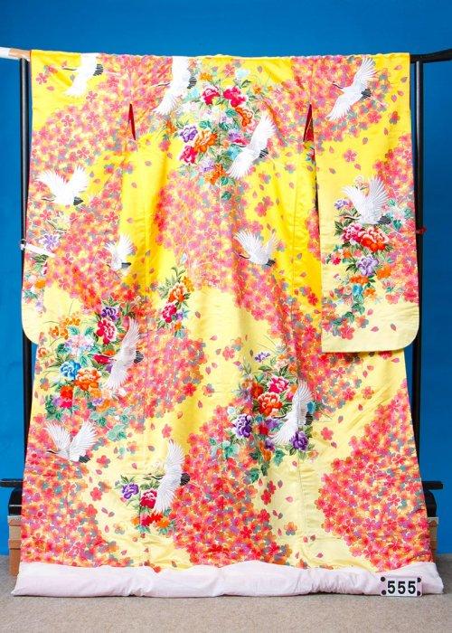 U555超トール打掛レンタル裄71(身長165-185ヒップ83-113)黄色グラデーション 桜に鶴