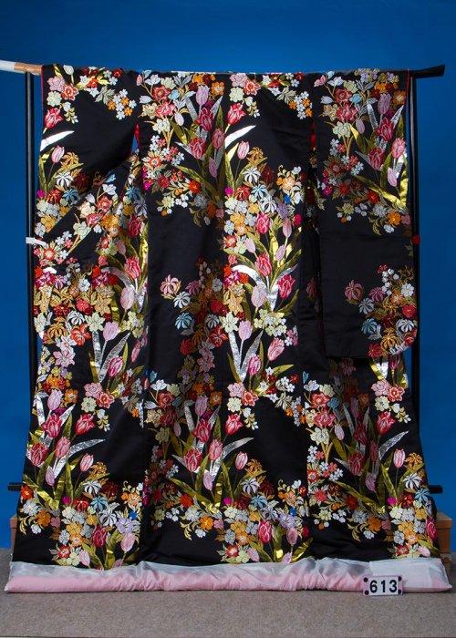 トールサイズ打掛レンタル(身長185cm前後まで) 黒地 チューリップ花束 U613