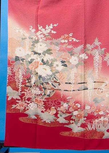 TI577色留袖レンタル  裄67(身長141-161ヒップ77-102)正絹 ベージュがかったピンク