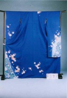 F192振袖レンタル 裄70 (身長152-172ヒップ72-102)正絹 ブルー系