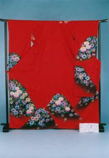 F227トール振袖レンタル 裄70(身長148-168ヒップ69-99)正絹 赤系