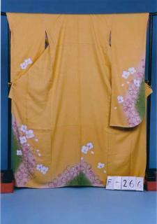 F266トール振袖レンタル裄72(身長157-177ヒップ71-101)黄色系 山吹 桜