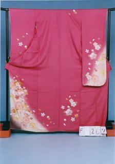 F267振袖レンタル 裄68(身長141-161ヒップ75-105)濃いピンク