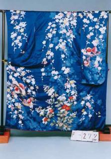 F277トール振袖レンタル裄67-69(身長155-172ヒップ71-101)青紺 おしどり