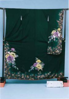 F285トール振袖レンタル 裄69(身丈150-170ヒップ71-101)グリーン系 濃い緑色