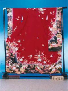 F363振袖レンタル 裄69(身長144-164ヒップ68-98)赤系