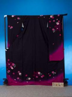 F367トール振袖レンタル 裄71(身長156-176ヒップ79-104)正絹 濃い紫色