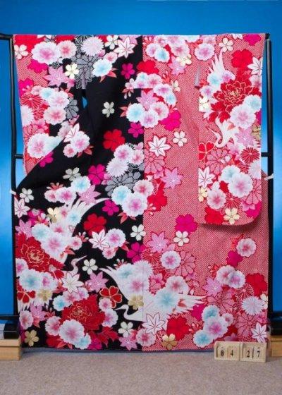 F427超トール振袖レンタル 裄70(身長162-184ヒップ72-102)黒/赤 鶴 桜 紅葉[JAPAN STYLE]  特注サイズ【新品同様】