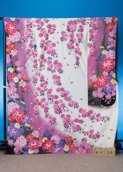 F428超トール振袖レンタル裄73(身長160-180ヒップ72-102)正絹 白 桜と牡丹【新品同様】