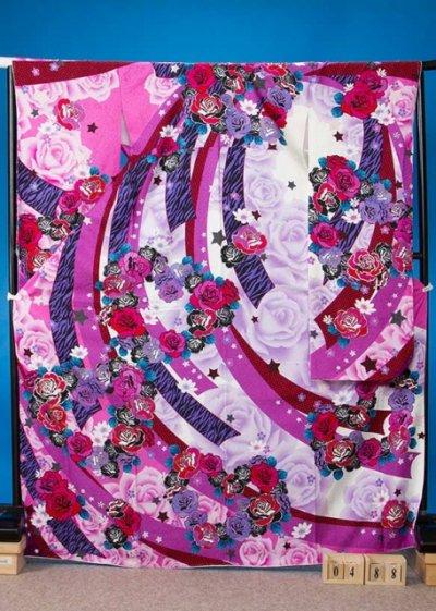 F488超トール振袖レンタル裄72(身長160-182ヒップ73-103) ピンク系 薔薇 星 チェック ゼブラ 吹き流し  [SunBunny]若槻千夏 【新品同様】
